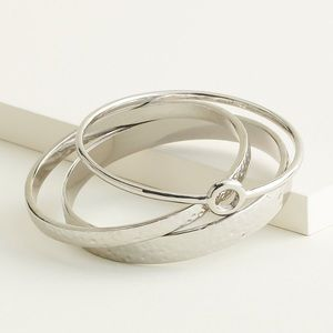 Elizabeth and James Hammered Bangle Bracelets NWT